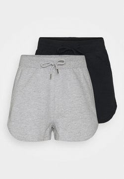 Even&Odd - 2 Pack sweat shorts - Shorts - black/mottled light grey