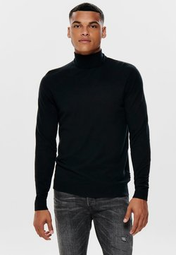 Only & Sons - ONSMIKKEL SOFT HIGH NECK - Strickpullover - black