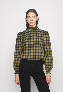 New Look - CHECK SHIRRED NECK - Bluse - green pattern