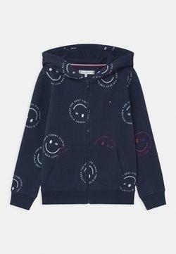 Tommy Hilfiger - PRINTED SMILE FULLZIP HOODIE UNISEX - veste en sweat zippée - blue
