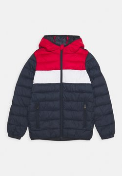Jack & Jones Junior - JJEMAGIC PUFFER HOOD - Veste d'hiver - navy blazer/tango red