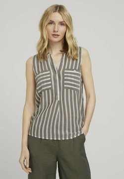 TOM TAILOR - Bluse - offwhite green stripe
