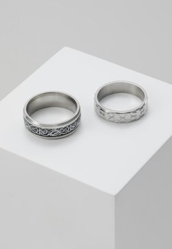 Topman - PINKY ETCHED RING SET - Ringar - silver-coloured