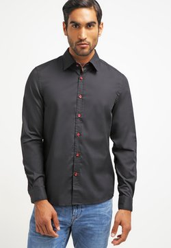 Pier One - CONTRAST BUTTON SLIMFIT - Hemd - black/red