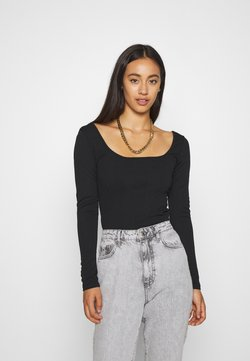 Missguided - CREPE LONG SLEEVE CORSET BODYSUIT - T-shirt con stampa - black