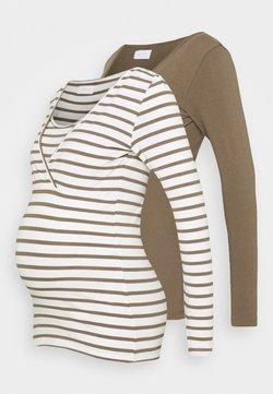 MAMALICIOUS - MLLEA 2 PACK - Camiseta de manga larga - stone gray