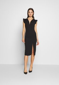 WAL G. - FRILL SLEEVE V PLUNGE NECK DRESS - Cocktailkleid/festliches Kleid - black