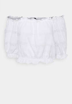 Pieces - PCTAYLEE CROPPED - T-shirt con stampa - bright white