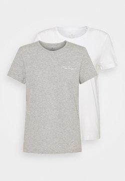 TOM TAILOR - 2PACK - T-Shirt print - whisper white/grey