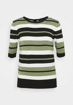 More & More - STRIPED SLEEVE - Strickpullover - herbal green