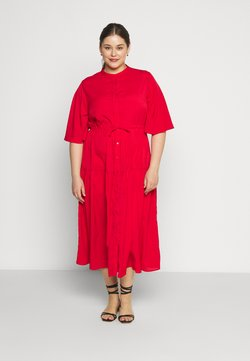 Glamorous Curve - TIE WAIST SHIRT DRESS - Blusenkleid - coral red