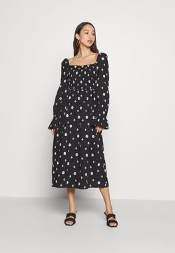 Never Fully Dressed - CROSS EMBROIDERED MIDI - Freizeitkleid - black