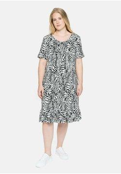 Sheego - Jerseykleid - weiß-schwarz