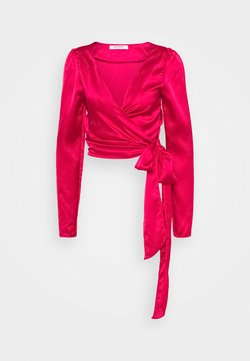 Glamorous - DRAPE WRAP WITH LONG SLEEVES PLUNGING NECKLINE - Blouse - red