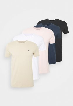 Abercrombie & Fitch - NEUTRAL CREW 5 PACK - T-shirt basic - white/rose/blue/beige/black