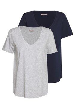 Anna Field - 2 PACK - T-shirt basic - mottled light grey/blue