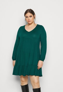 Evans - FRILL HEM DRESS - Jerseykleid - green
