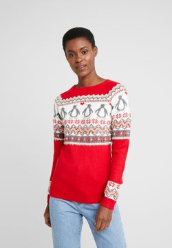Dorothy Perkins Tall - FAIRISLE TINSLE PENGUIIN - Jumper - red