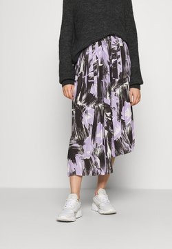Who What Wear - PLEATED ASYMM MIDI SKIRT - A-linjainen hame - lavender