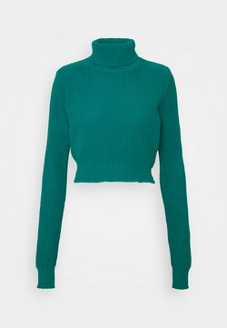 Glamorous Petite - CROPPED JUMPER WITH ROLL NECK AND LONG SLEEVES - Maglione - blue jade