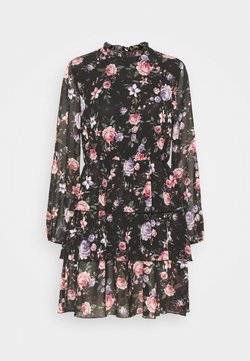 ONLY - ONLVIVIAN FLOWER FRILL DRESS - Freizeitkleid - black