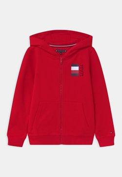 Tommy Hilfiger - GLOBAL STRIPE HOODED  - veste en sweat zippée - red