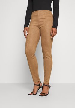comma - Leather trousers - camel velo