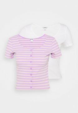 Monki - QUINNY TOP 2 PACK - T-Shirt print - yellow medium dusty/white
