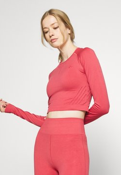 ONLY Play - ONPJAVO CIRCULAR CROPPED - Long sleeved top - holly berry