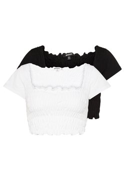 Missguided - SHIRRED CROP 2 PACK - T-Shirt basic - white/black