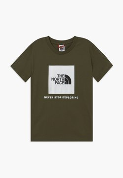 The North Face - BOX TEE UNISEX - T-shirt med print - new taupe green/white