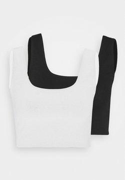 Even&Odd - SQUARE NECK CROP 2 PACK - Débardeur - black/white