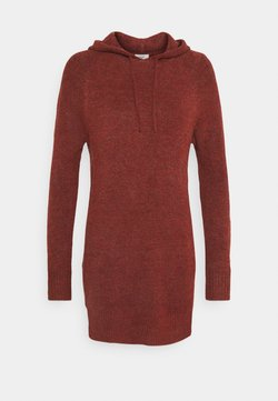 JDY - JDYANNE HOOD DRESS - Robe pull - russet brown melange