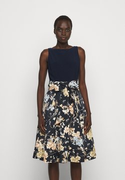 Lauren Ralph Lauren - PRINTED FAILLE DRESS COMBO - Cocktailkleid/festliches Kleid - lighh navy/yellow