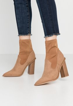 Missguided - MIXED BOOT  - Bottines à talons hauts - taupe
