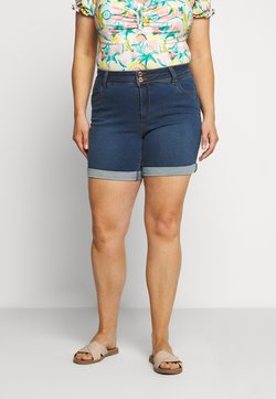 CAPSULE by Simply Be - SHAPE AND SCULPT - Jeansshort - mid blue