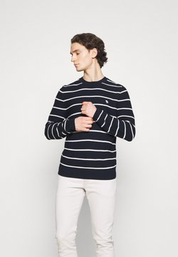 Abercrombie & Fitch - ICON STRIPE CREWS - Strickpullover - navy