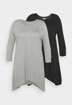 CAPSULE by Simply Be - HANKY HEM TUNICS LONG SLEEVE 2 PACK  - Langarmshirt - black/grey marl
