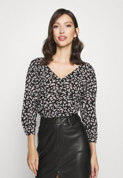 Miss Selfridge - FLORAL V NECK BLOUSE - Langarmshirt - black