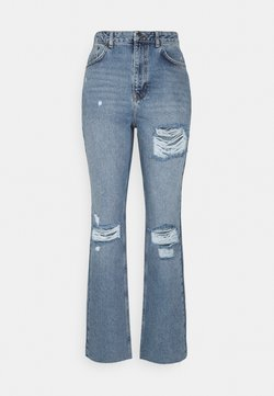NA-KD Tall - DESTROYED DETAIL HIGH WAIST - Jeans relaxed fit - blue