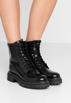 HUGO - ALPHA BOOTIE - Botines con cordones - black