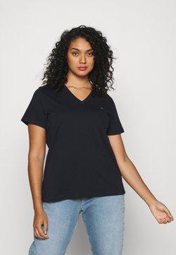 Tommy Hilfiger Curve - NEW V NECK TEE - T-shirts - desert sky