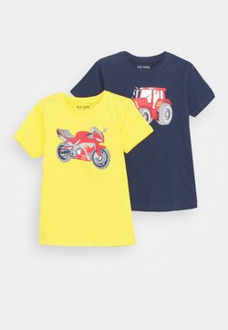 Blue Seven - SMALL BOYS MOTORCYCLE TRACTOR 2 PACK - T-shirt med print - yellow/dark blue