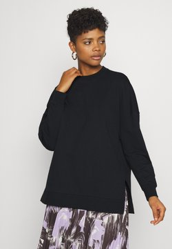Even&Odd - Slit Sides Oversized Sweatshirt - Sweater - black