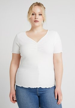 New Look Curves - CURVES LETTUCE ROUCHED FRONT - T-paita - white