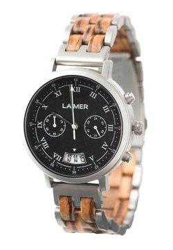 LAIMER - LAIMER QUARZ HOLZUHR - ANALOGE ARMBANDUHR LEON - Chronograph - ocher