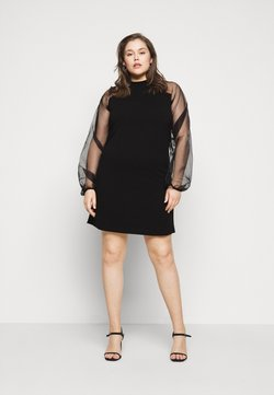 Missguided Plus - PLUS HIGH NECK SLEEVE MINI DRESS - Cocktailkleid/festliches Kleid - black