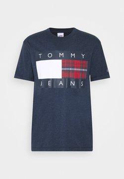 Tommy Jeans - PLAID CENTRE FLAG UNISEX - T-shirt imprimé - twilight navy
