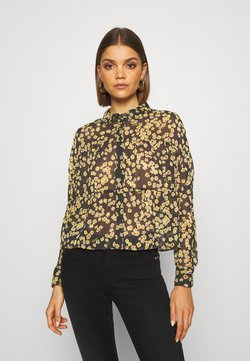 Tommy Jeans - GATHER DETAIL BLOUSE - Hemdbluse - black/yellow