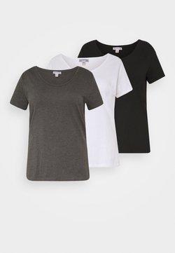 Anna Field Curvy - 3 PACK - T-Shirt basic - white/black/dark grey